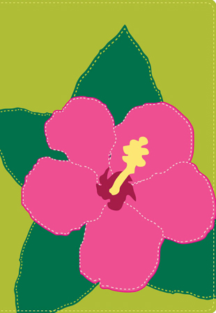 Biblia NVI Ultrafina Compacta Verde flores habisco