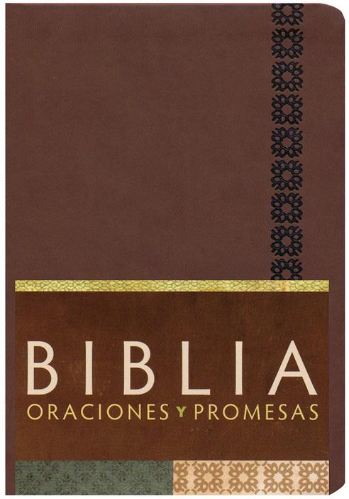 Biblia Oraciones y Promesas Símil piel Canela
