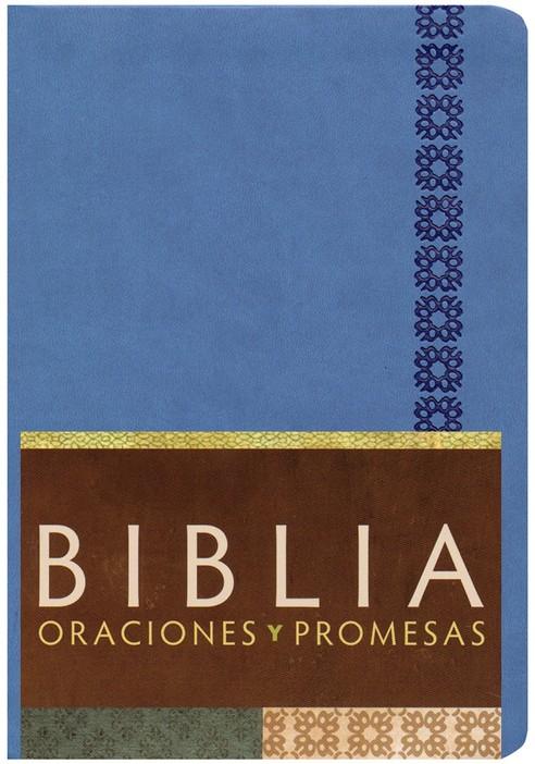 Biblia RV Oraciones y Promesas Símil piel azul