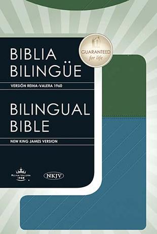 Biblia bilingue RVR1960-NKJV dos tonos azul verde