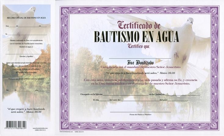 Certificado De Bautismo En Agua Paloma (niña)