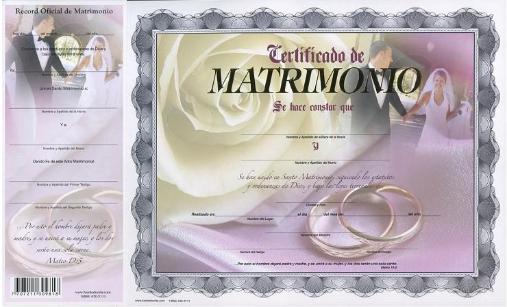 Certificado De Matrimonio Rosa
