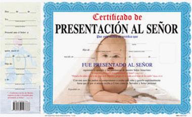 Certificado De Presentacion Al Señor (niño)